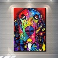 Vintage Abstract Animal Colorful DOG creative posters painti...
