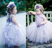 Lavanda Flor Menina Vestidos de Bebê Da Criança Halter Tulle Vestidos de Baile Menina Pageant Vestidos Vestidos de Comunhão Vestido de Festa de Aniversário
