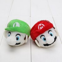6cm Super Mario Bros plush pendant Mario & Luigi head Plush ...