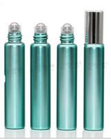 DHL / EMS / 페덱스 무료 배송으로 10ml의 1/3 온스 UV 유리 녹색 향수 ROLL ON 유리 병 에센셜 오일 철강 금속 롤러 볼 아로마 테라피