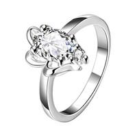 Anello pieno d'argento 925 del fiore pieno di modo del diamante pieno di alta qualità STPR043B anelli di barretta placcati argento sterling della pietra preziosa brandnew di nuovo champagne