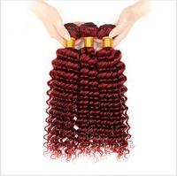 9A Ucuz Perulu Bordo İnsan Saç Uzantıları Derin Kıvırcık Dalga Perulu Bordo Kırmızı İnsan Saç Dokuma Paketler Derin Kıvırcık 3 Adet Lot