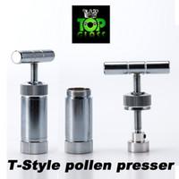 Herramienta de tubos de fumar de metal de alta calidad estilo T Prensador de polen Herb Cracker Herbal Grinder Whipper Cream, hecho de latón chapado con cromo
