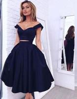 2018 dos piezas de fiesta vestidos de fiesta fuera del hombro con cremallera espalda vestidos de novia hasta la rodilla cortos vestidos de baile