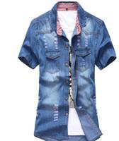 En gros-2016 nouveaux hommes d'été manches courtes chemises en jean coréen Casual trou simple boutonnage Jeans chemises Plus Size Denim Tops J1451