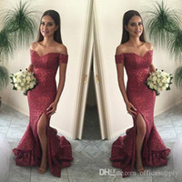 2017 Платья выпускного вечера Cranberry Mermaid от плеча Split Front Sparkling Sequins Sexy Back Pageant Gowns Ruffles Court Train BA1066