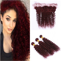99J Deep Wave Hair With Lace Frontal Brazilian Virgin Hair D...