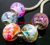 50pcs / Lot spruzza colore perle di vetro di murano per monili che fanno lampwork sciolto fascini diy per il braccialetto all'ingrosso in massa prezzo basso