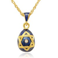 Religion David Star Faberge Egg Charm hand color enamel Russian Style Egg Necklace for Easter Day