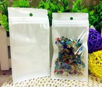 Temizle + Beyaz Fermuar Kilidi ile Perlized Plastik Paket Perakende paket Takı gıda Asmak Delik Poli USB iPhone Samsung çanta birçok boyutta mevcut