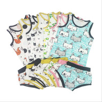 94258fabd7 Baby Clothes INS Fox Outfits Kids Lemon Clothing Sets Children s Panda  Summer Suit Cartoon Print Tank Shorts Sleeveless Top Pants New B2809
