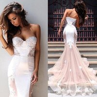 Sexy Blush Mermaid Tulle Prom Dresses 2016 New Arravial Swee...