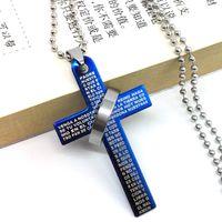 Cruz da bíblia anel anel titanium colar colar de aço inoxidável dos homens cruz casal colar atacado frete grátis