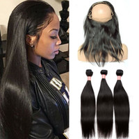360 Lace Frontal With Bundles 4Pcs Lot 9A Straight Peruvian ...