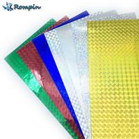 Rompin 7pcs 10 * 20см Голографическая клейкая пленка Флэш лента Приманка Создание Fly Шнуровка Материал Металл Жесткий Приманки Изменить цвет наклейки