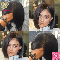 Court Bob Lace Front Perruques de Cheveux Humains Brésiliens Sans Colle Full Lace Perruques de Cheveux Humains Droite Pour Les Femmes Noires