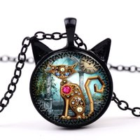 locket Fashion punk cat glass pendant necklaces Clock cats s...