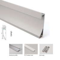 10 X 1M комплектов / серия AL6063 прокладки водить монтаж алюминиевого канал и анодированный серебра привели профиль корпуса для встраиваемых настенных светильников