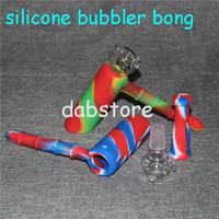 5pcs colorato percolatore silicone blunts bong gorgogliatore viaggio mini bong giunto fumare gorgogliatori piccoli tubi mano tubo vetro viaggi bong