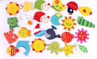 Оптовая продажа детских деревянных игрушек развивающие игрушки раннего детства умственный мультфильм милый магнит на холодильник образование магниты на холодильник игрушки