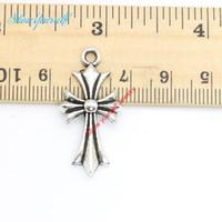15 pcs / lot Antique Argent Plaqué Croix Charmes Pendentifs pour Collier Fabrication de Bijoux DIY À La Main Artisanat 33x16mm