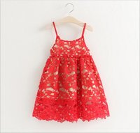 New 2016 Baby Girls Crochet Lace Dresses Babies Hallow Out P...