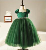 Zarif Kız Gelinlik 2015 Yeni Moda Kızlar Büyük Kalite Yeşil Yay Elmas Kemer Tül Parti Prenses Elbiseler, 2-12Y