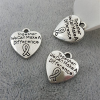 Персик сердце ленты рак молочной железы осведомленности ленты кулон Шарма шарик подходит змея цепи браслеты европейский шарм DIY письмо подвески