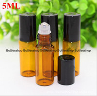 5ml 1/6 once Spesso Ambra Glass Roll On olio essenziale vuota della bottiglia di profumo in acciaio inossidabile Roller sfera di trasporto del DHL