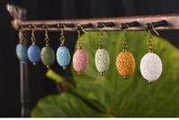 8 Colores Pendientes de Piedra de Lava Oval Perfume Difusor de Aceite Esencial Pendientes de Piedra Natural Étnicos Accesorios Joyería para mujeres