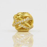 Grano de plata con claro CZ Pavimentado Color oro Auténtico 925 granos de plata del encanto Fit Pandora estilo pulsera brazalete DIY joyería original