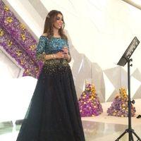 2016 미리 암 요금 파란색 스팽글 연예인 이브닝 드레스 국자 환상 소매 섹시한 긴 소매 디자인 중동 스타일의 공식적인 가운