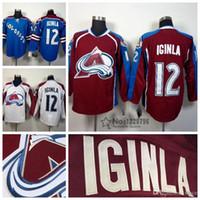 2016 nouveaux, maillots de hockey pour hommes Avalanche du Colorado 12 Jarome Iginla Jersey, Bordeaux, rouge, blanc, bleu, Jarome Iginla Stitch