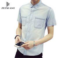الجملة-الرجال الصيف الدنيم قميص عارضة رفض طوق قميص أوم قصيرة الأكمام الجينز قميص ماركة الذكور الدنيم قميص camisa الغمد