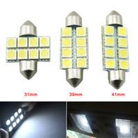 LEEWA 50pcs 백색 자동 LED 전구 31mm 39mm 41mm 5050 칩 8SMD 차 Festoon 돔 LED 독서 빛 # 3088