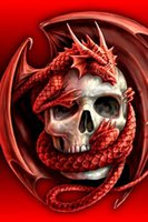 DIY Diamond Painting Embroidery 5D Red Dragon Skull Cross St...