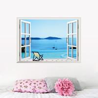 Пляжный курорт 3D вид из окна съемный стикер стены искусства виниловые наклейки декор росписи