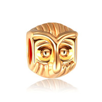 Goldfarbe Perlen Kreative DIY Armband Perlen Zubehör 14k Goldfarben Eule Charm Perlen für Pandora-Kette