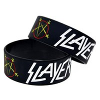 Hot Sell 1PC 1 Inch Wide Slayer Silicone Wristband Metal Ban...