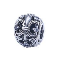 Neue klare Kristall Fleur de lis Charme Perlen Authentische 925 Sterling Silber Schmuck Blume Perle passt europäisch Frauen Marke Armbänder DIY Machen