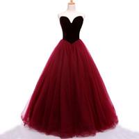 Stunning Prom Dressess Dark Red Burgundy Velvet Prom Dress Sweetheart Sleeveless Zipper up Tulle Evening Gowns Party Wear