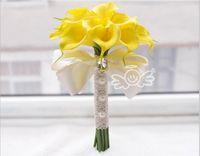 Calla Lily Buquês De Noiva Amarelo e Branco Duas Cores Na Venda Flores De Casamento Buquê De Promoção Com Laço Decorações De Flor Charming
