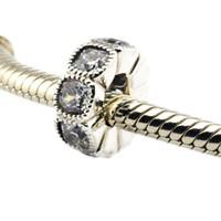 Serve para pandora pulseiras sedutor almofada spacer grânulos de prata com claro cz 100% 925 encantos de prata esterlina jóias diy atacado