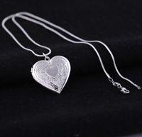 Посеребренные 925 медальоны кулон ожерелья Сердце резные Шарм фоторамки можно открыть медальон ожерелье День Святого Валентина подарок для женщин девушка