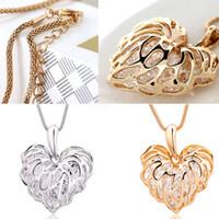 Новое Золото Женщины Длинное Ожерелье Полые Листья Любовь Циркон Свитер Цепи Кулон #R571