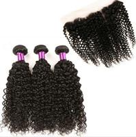 Sıcak Satış Kinky Kıvırcık Saç Dantel Frontal Ile 3 Demetleri Örgüleri 4 Adet / grup Siyah Kadınlar Için Dantel Frontal Ile Saç Demetleri