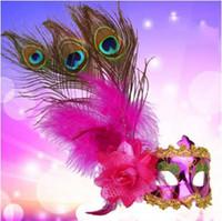 Piume donne di modo del pavone mascherine di travestimento del partito di Halloween di carnevale Fiore laterale Maschera Bar Club Performance Show Mask Prop