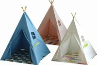 Four Poles Teepee Children Toy Tent Indian cotton canvas for...