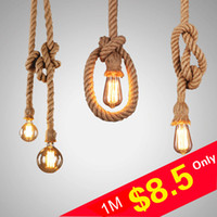 L6- Personality Rope Pendant Light Creative Retro Vintage Lam...