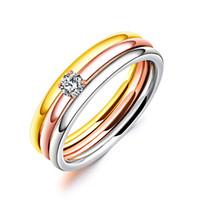 3 개 / 대 지르콘 316L 스테인레스 스틸 결혼 반지 골드 컬러 크리스탈 티타늄 약혼 손가락 반지 여성